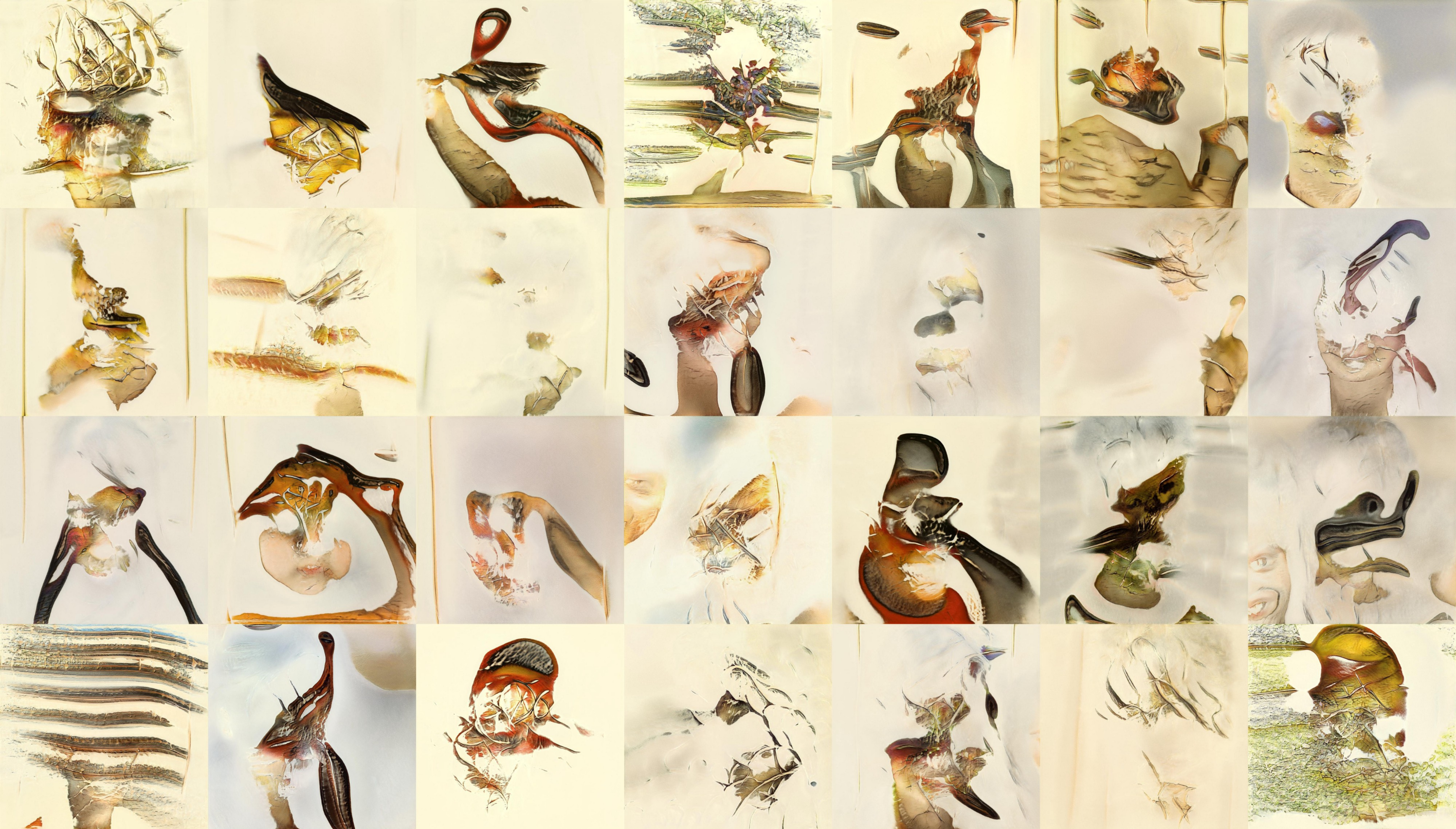 The same contact sheet style 28 images. You can now see almost no face-like features at all. At this stage the images look very abstract. You can see the background colour is a pale beige like on a lot of the illustrations of birds. You can see the model learning that the birds are generally in the centre of the image. But we have abstract blobby shapes in the foreground at the moment, rather than anything that looks like birds. The colours of these blobs are starting to look bird-like, though.