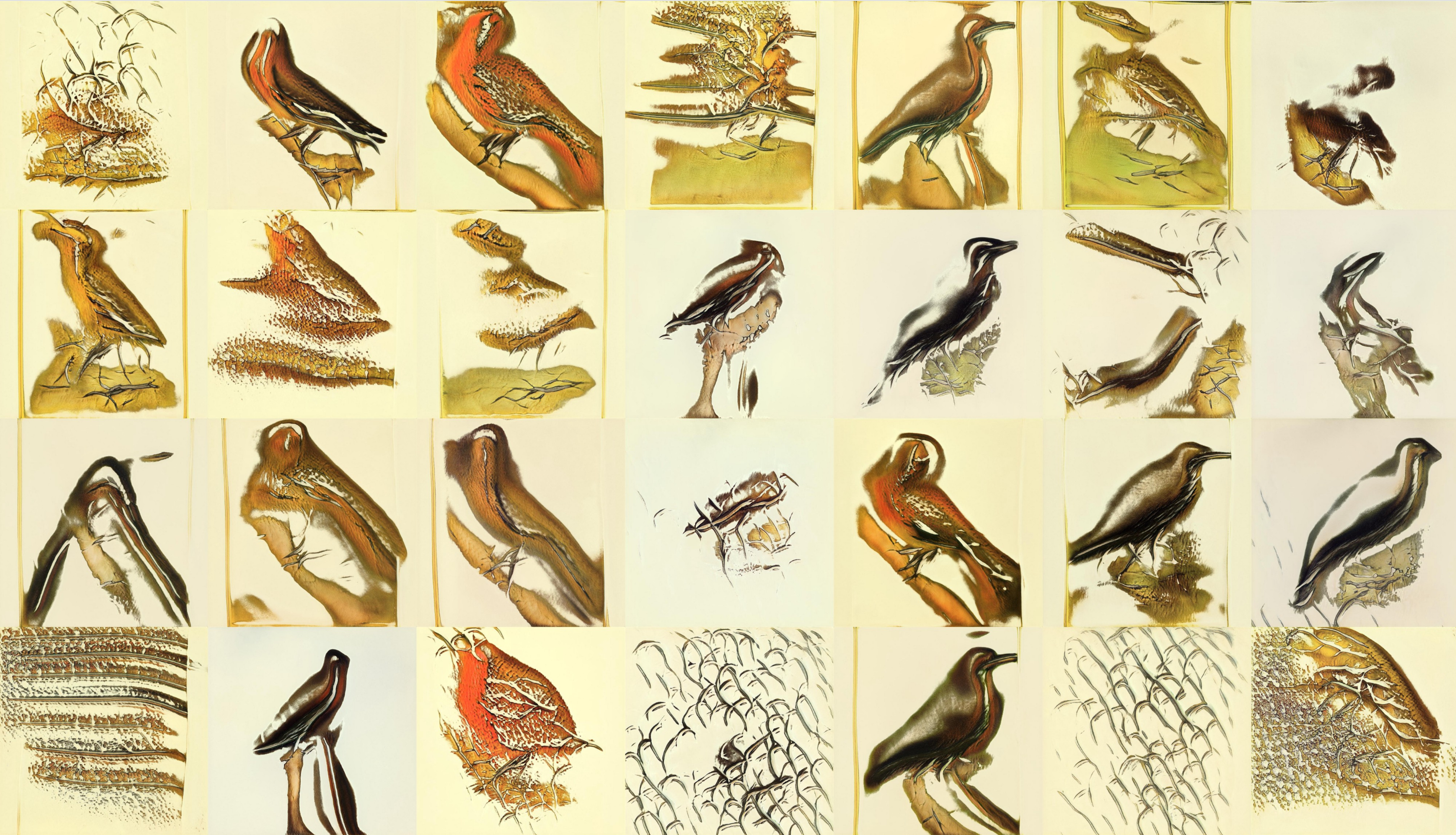 The contact sheet of images. Here the foreground shapes in a lot of cases are starting to look bird-shaped! There is no detail like feathers or eyes or legs, but the outlines look like birds in about half of the images. Some are still abstract, though, like just some wavy lines.
