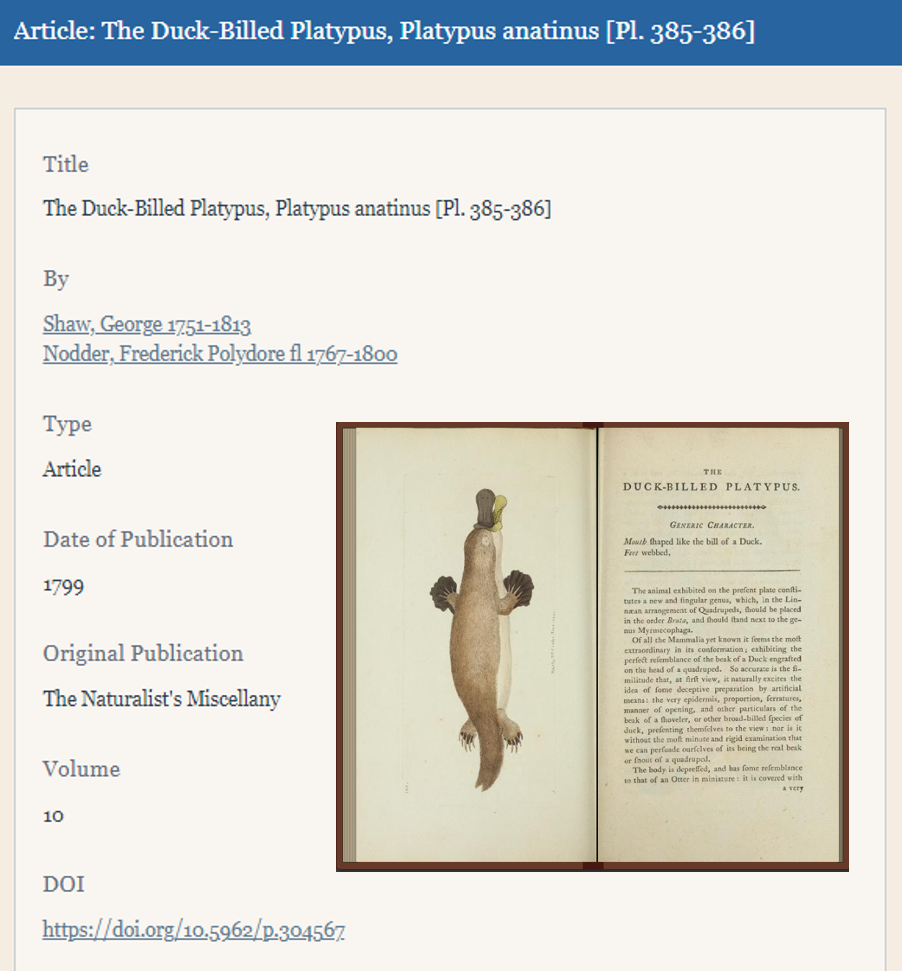 Screenshot of the landing page in BHL for the description of the The Duck-Billed Platypus, Platypus anatinus.
