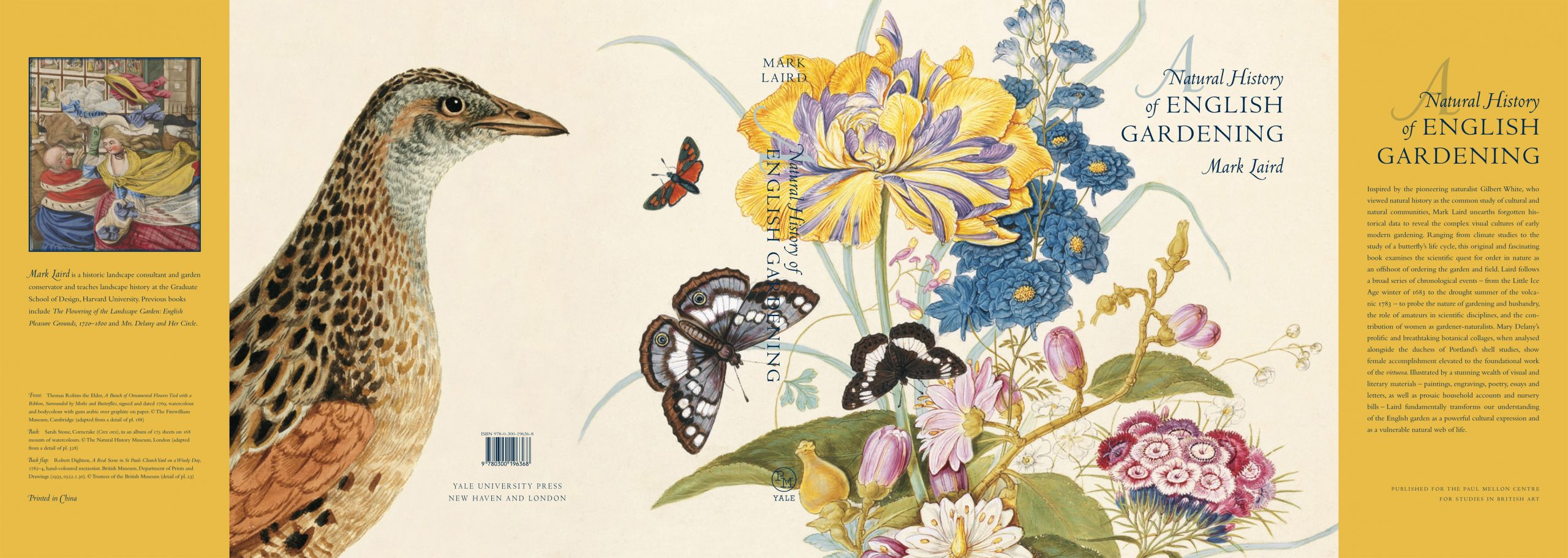 Dust jacket for the book, A Natural History of English Gardening (2015) by Mark Laird