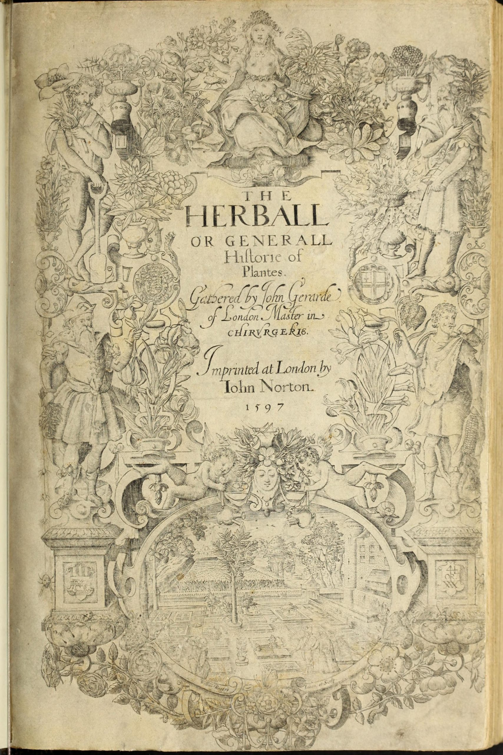 Ornate black and white title page depicting a garden scene, two cherubs, four gentlemen, and a female figure